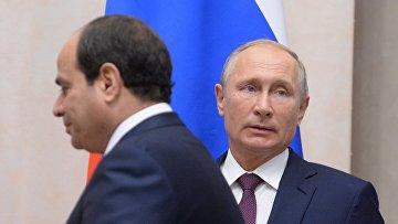 Президент РФ В. Путин встретился с президентом Египта А. Сиси