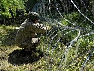 Солдаты литовской армии устанавливают колючую проволоку на границе с Белоруссией