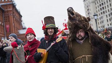 Артисты на праздновании Масленицы в Москве
