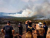 Пожарные и волонтеры готовятся к тушению лесных пожаров близ деревни Икизче в Турции