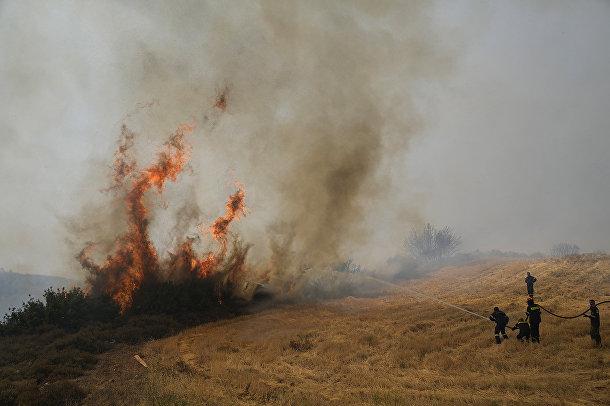 Греция. Пожарные пытаются погасить пламя в поселке Айос Стефанос