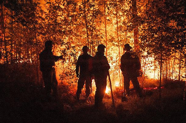 Россия. Пожарные посреди пламени возле села Кюёрелях