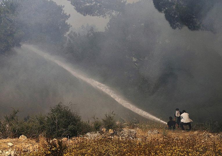 Ливан. Добровольцы помогают тушить лесной пожар вблизи села Кубайят в провинции Аккар