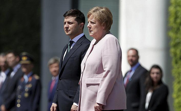 Канцлер Германии Ангела Меркель и президент Украины Владимир Зеленский