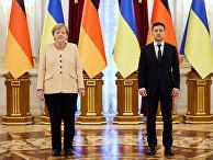 Президент Украины Владимир Зеленский и канцлер Германии Ангела Меркель в Киеве