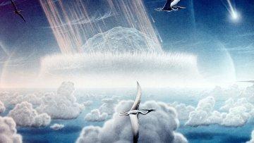 Столкновения Земли с астероидом: художественное изображение