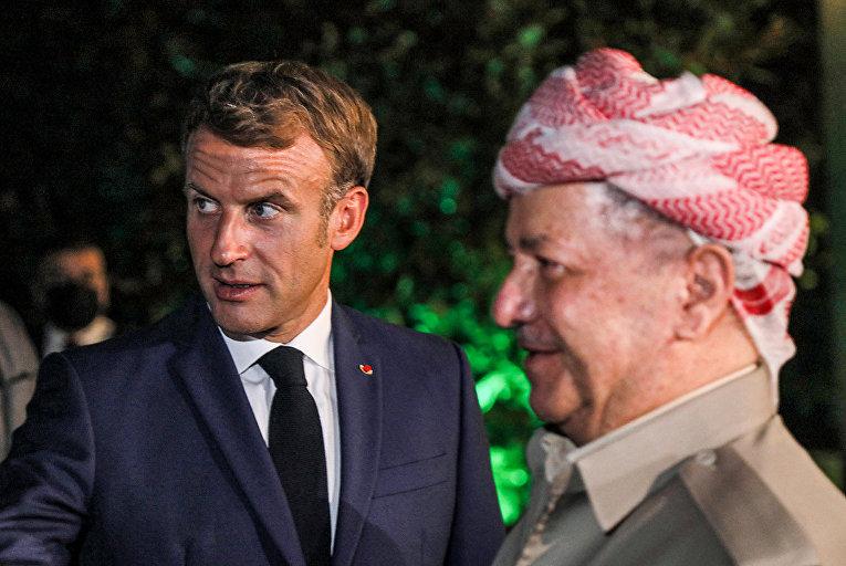 Президент Франции Эммануэль Макрон и лидер Демократической партии Курдистана Масуд Барзани в Арбиле, Ирак