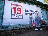 Члены местной избирательной комиссии в селе Тарбагатай