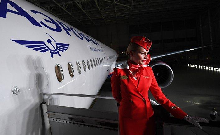 Презентация нового салона Boeing 777 Аэрофлота в аэропорту Шереметьево