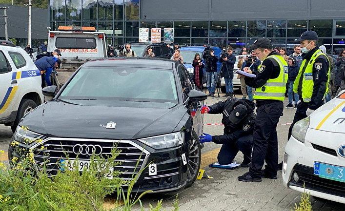 Место нападения на главного помощника президента Украины Владимира Зеленского в Киеве, Украина