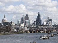 Вид на бизнес район Лондон - сити в Лондоне