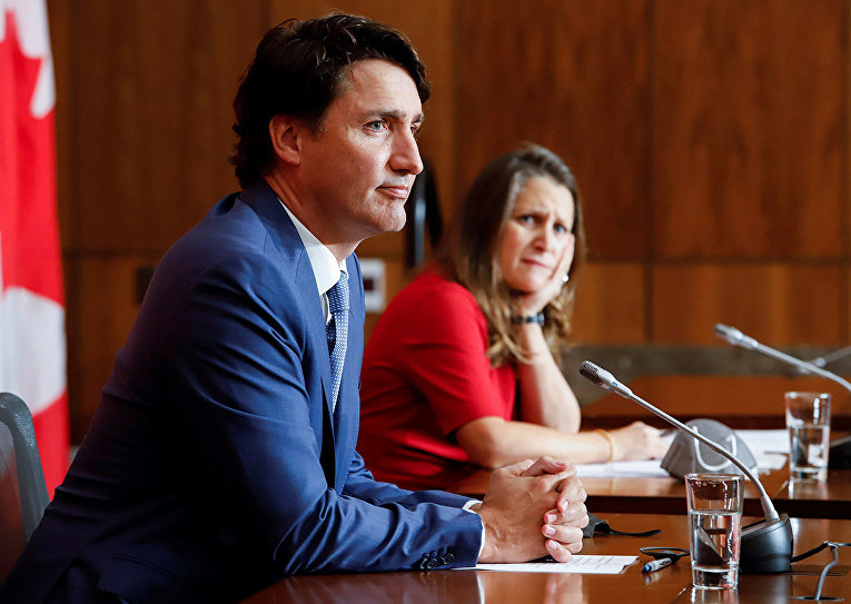 Заместитель премьер-министра Канады Христя Фриланд и премьер-министр Канады Джастин Трюдо