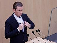 Бывший канцлер Австрии Себастьян Курц выступает на заседании парламента в Вене