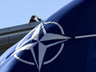 Флаг НАТО в штаб-квартире организации в Брюсселе