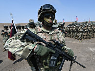 Грузинские и американские солдаты во время учений НАТО на военной базе Вазиани